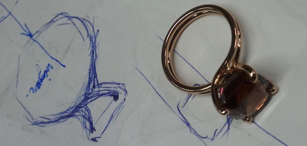 Van ontwerptekening naar juweel (18ct roségouden toermalijn ring)